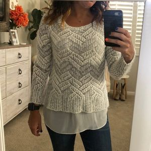 Lucky Brand. Cream and silver. Sweater.
